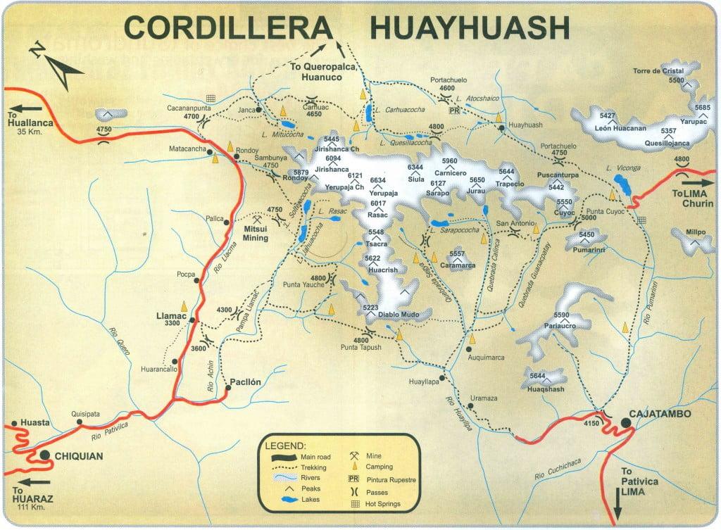Карта пешего маршрута Уайуош в Перу Huaraz
