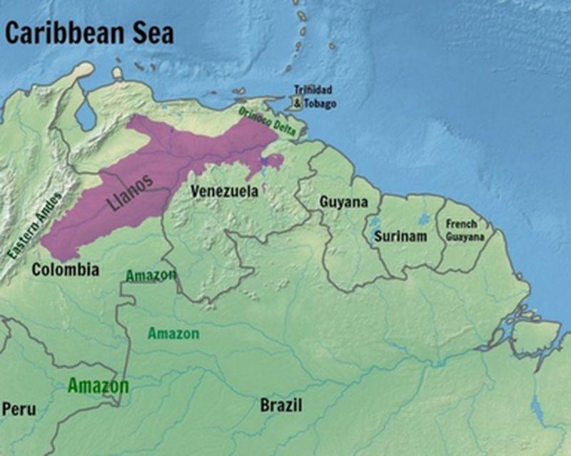 Карта Льянос в Колумбии