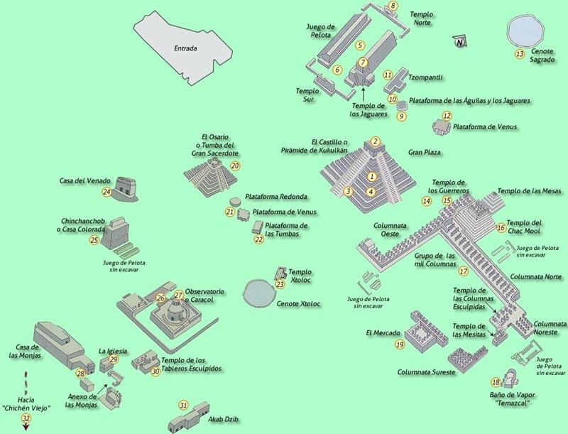 Карта комплекса Чичен Ица в Мексике