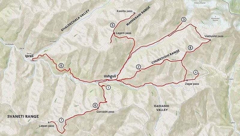 Карта пешеходных маршрутов в Ушгули