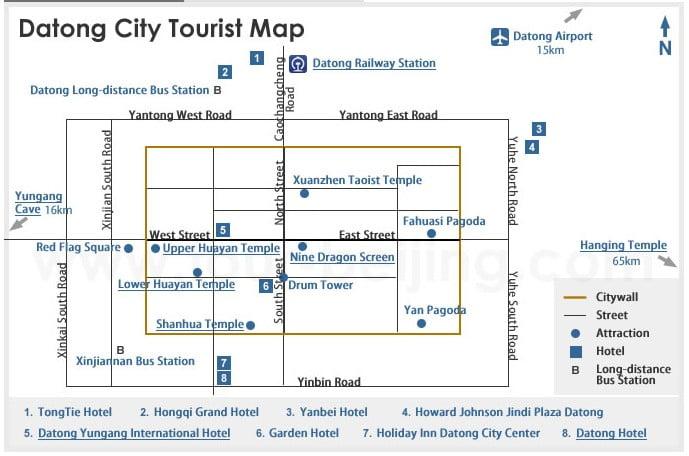 Карта достопримечательностей Датун Китай