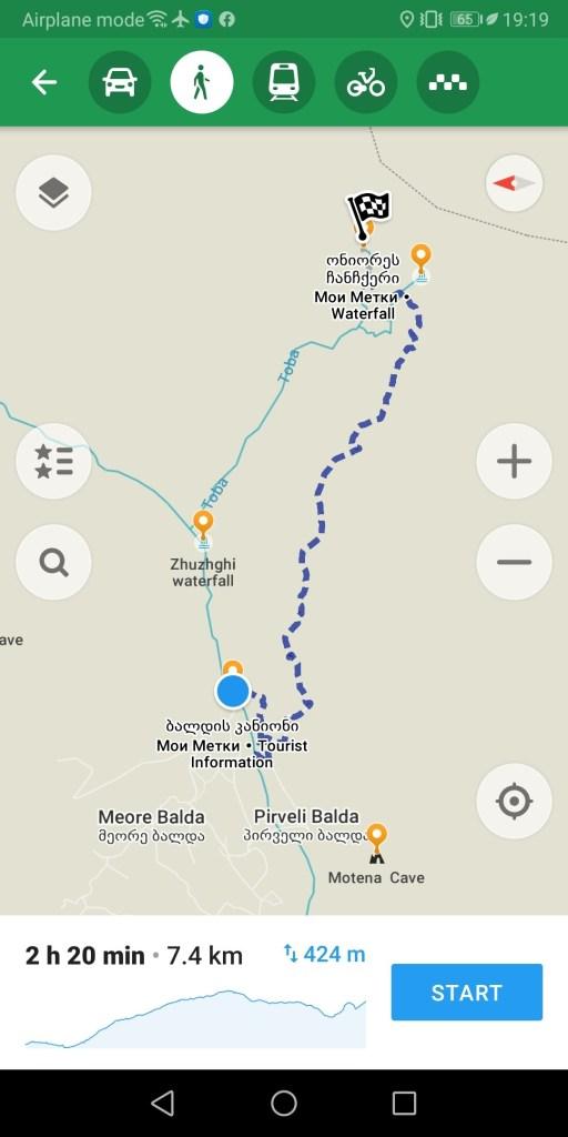 Треккинг в Мратвили - карта