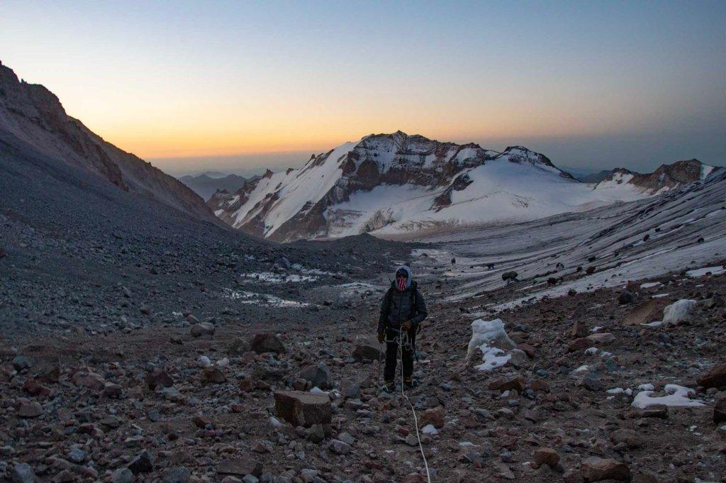 Восход солнца на вершине Казбека