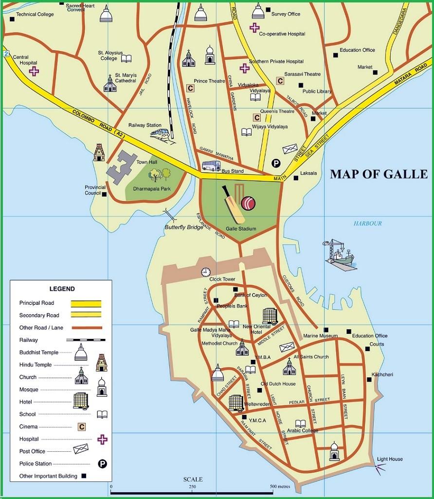Схема основных туристических места в Галле
