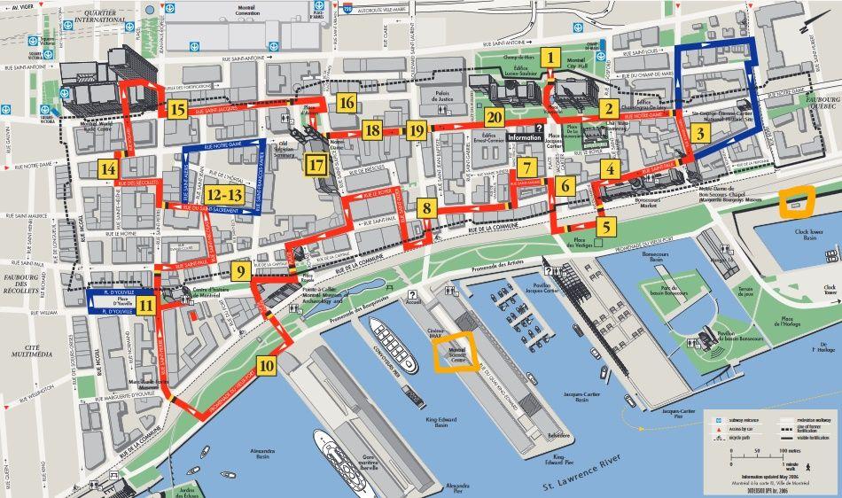 Карта прогулки - Старый Монреаль