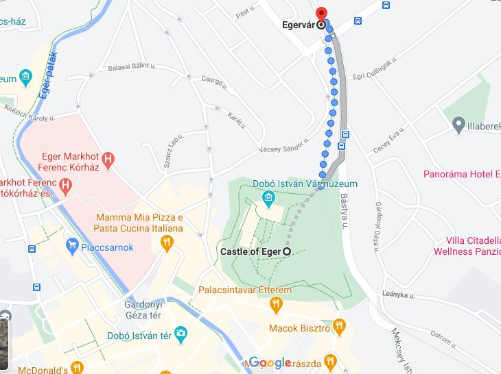 Как добраться до крепости Эгер - карта