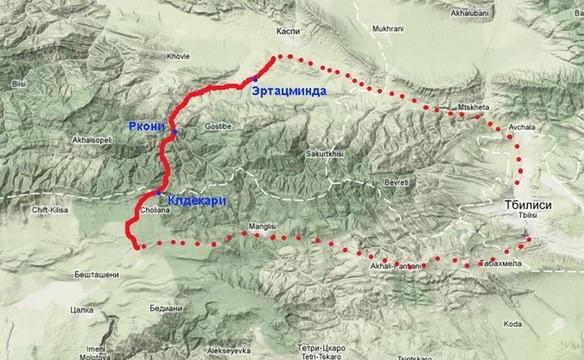 треккинг в грузии - карта маршрута на триалетский хребет