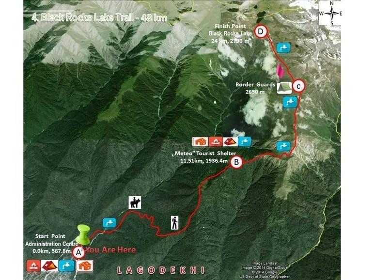 треккинг в грузии — карта маршрута в парке лагодехи