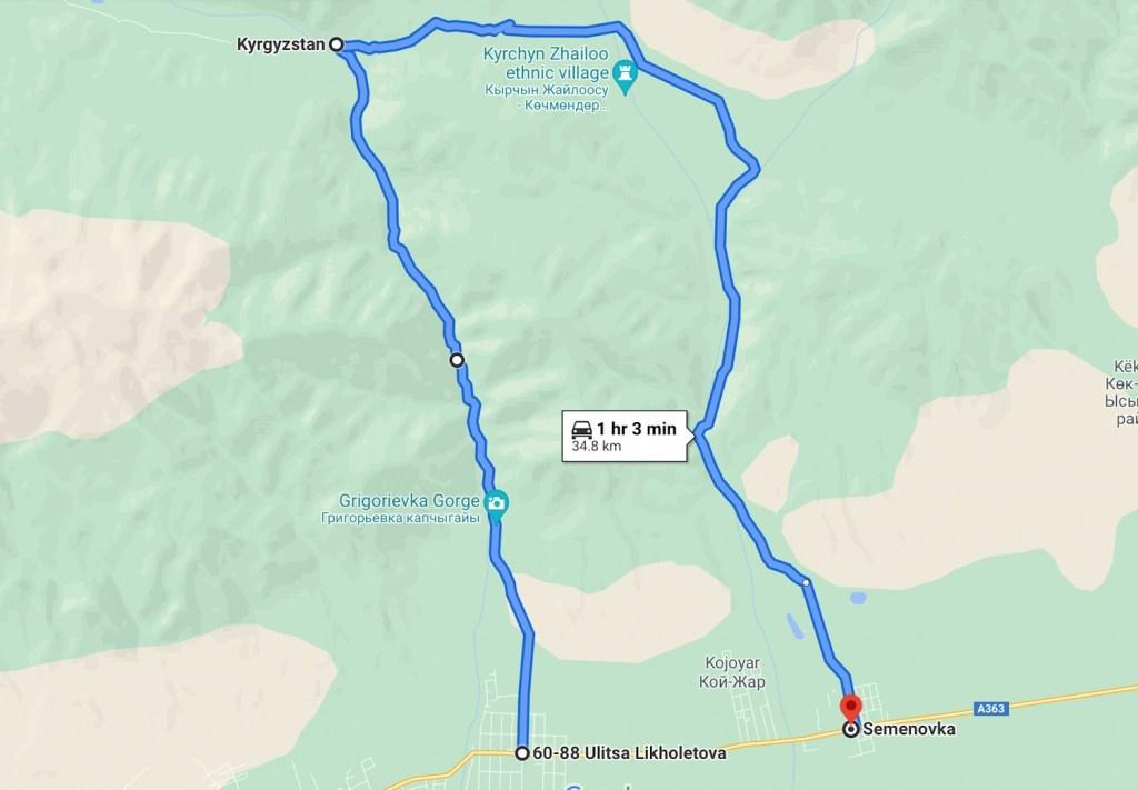 Карта путешествия — Григорьевское и Семеновское ущелье за один день