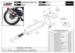 Escape Suono Steel Black Mivv Para Suzuki Gsxr 600/750 2011-