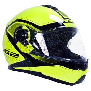 Casco Abatible Ls2 Commuter Strobe Civik Ff325 Amarillo Fluo