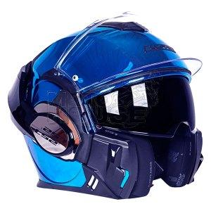 Casco Moto Abatible Ls2 Ff399 Valiant Azul Cromo