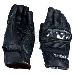 Guantes Piel Para Moto Cortos C/ Proteccion Kohl 205 Negro