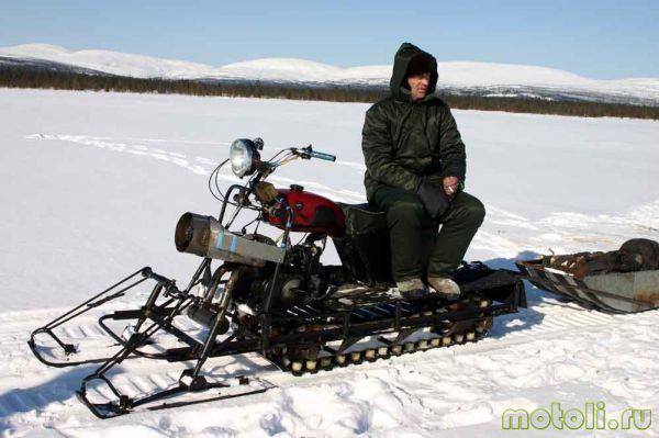 Bagaimana untuk membuat kereta salji dari motosikal
