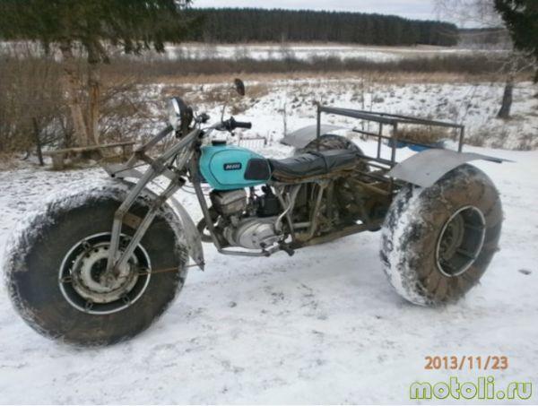オートバイからスノーモービルを作る