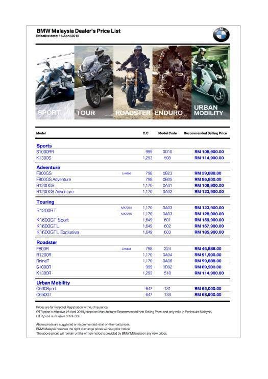 BMW Motorrad Price List