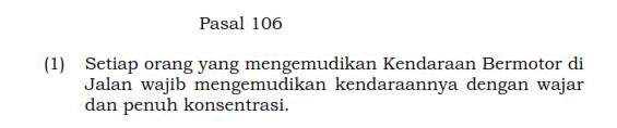 pasal 106 konsentrasi berkendara