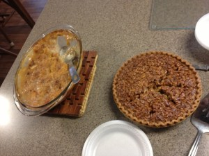Homemade EVERYTHING for lunch, including pie and cobbler.