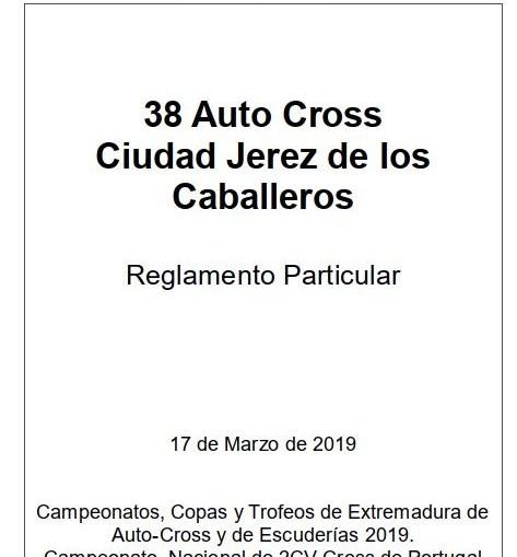 Portada reglamento 38 auto cross 17 marzo 19