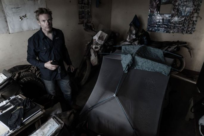2 bikes and the tent pitched inside the police man's office in the DRC.