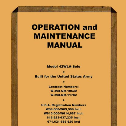 1942 WLA Solo Model Service Manual