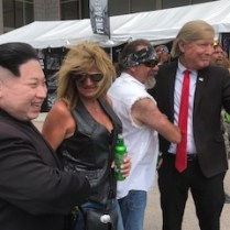 Fake Trump Mask on Man at Sturgis