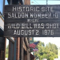Sign showing that Wild Bill was shot there