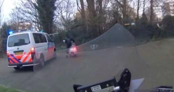 wegmisbruikers scooterachtervolging
