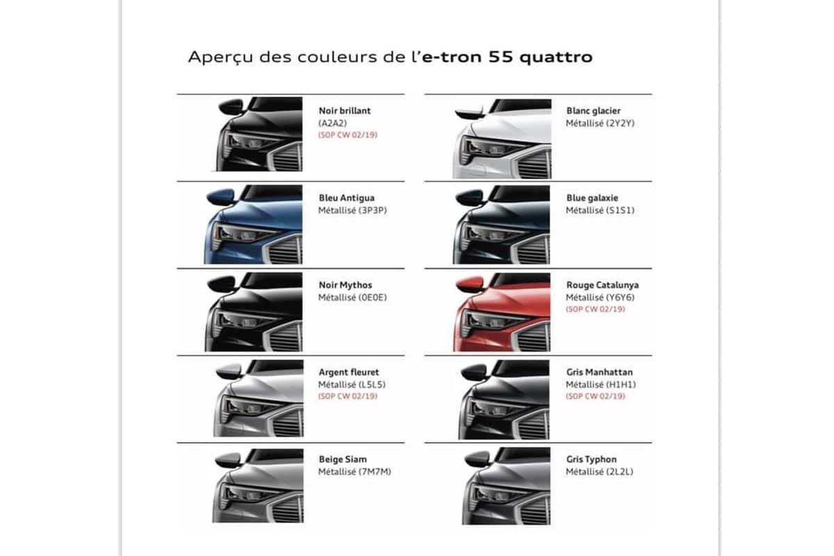 Audi E Tron Quattro Colors And Trims Leaked
