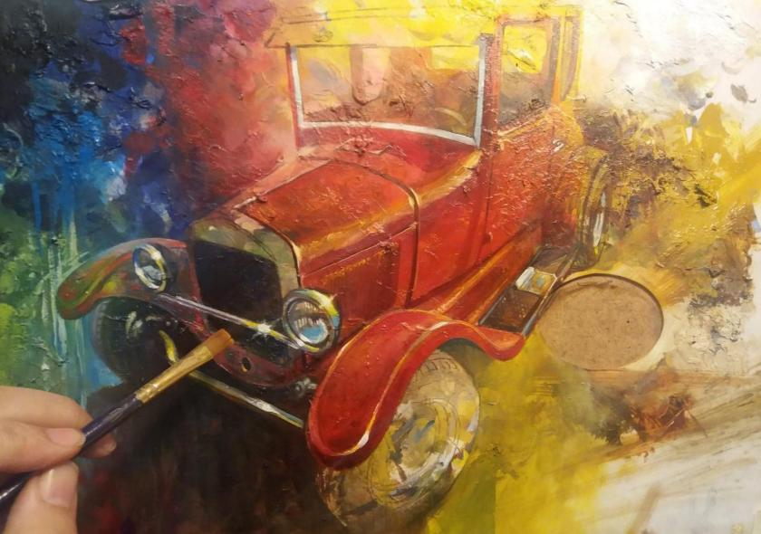 Hot Rod painting in progress