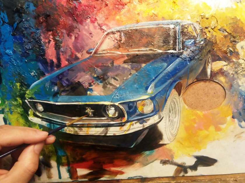 Mustang painting in progress