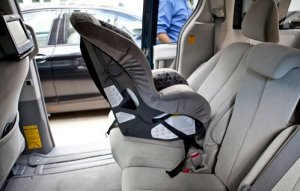 Rear facing baby car seat without a car seat protector