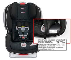 Serial number on the lower frame of the Britax B-safe 35 infant car seat
