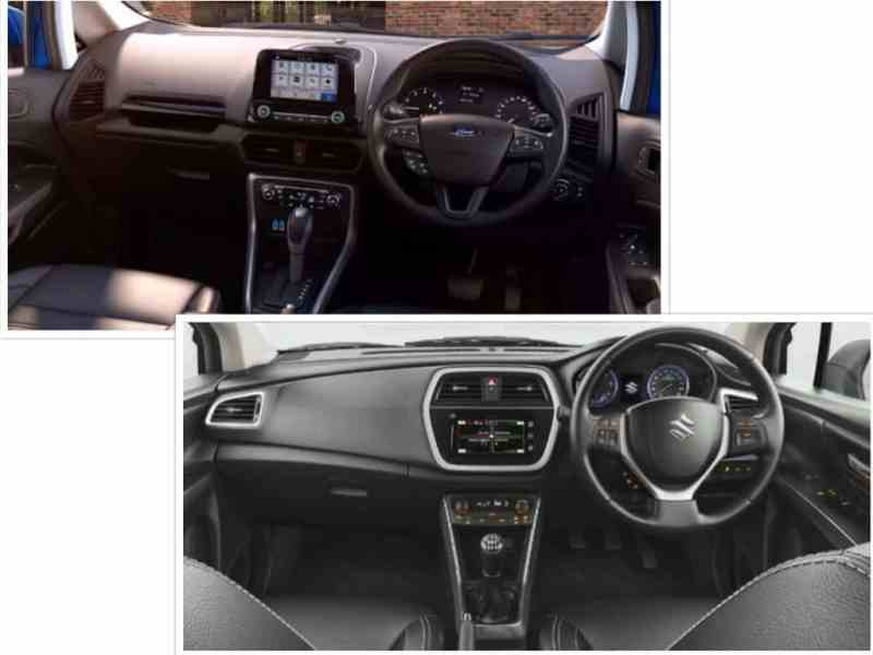 Ford EcoSport vs S Cross Maruti interior cabin dashboard