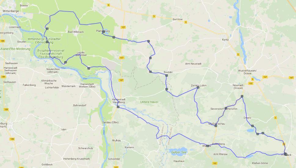 Streckenplan der Prignitztour zur Plattenburg in Brandenburg mit dem Motorrad