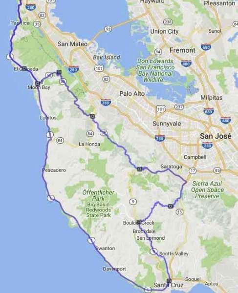 Streckenführung der Motorradtour Skyline Boulevard in Kalifornien
