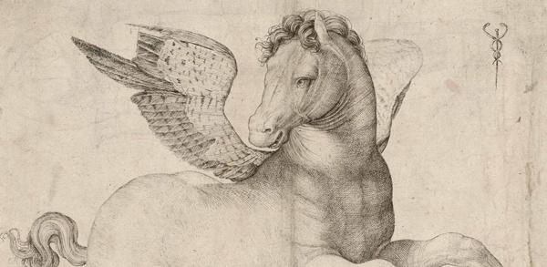Pegasus als fleischgewordene Mobilität nach einem Kupferstich von Jacopo de' Barbari um 1510 als Aufforderung, körperlich fit für die Motorradsaison zu werden