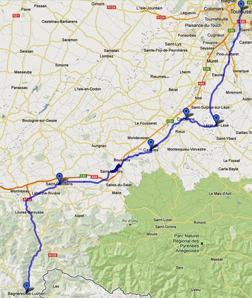 Streckenplan 14. Etappe Motorradtour Südwestfrankreich Teil 2 auf der Landstrasse von Bagnères-de-Luchon durch das Garonnetal nach Toulouse
