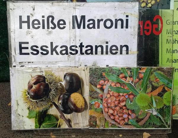 Plakat eines Imbissstandes mit der Aufschrift Heisse Maroni Esskastanien samt Bildern dieser Nussfrüchte