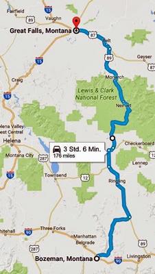 Streckenkarte der 9. Etappe einer Motorradtour durch die Rocky Mountains von Bozeman, MT nach Great Falls, MT