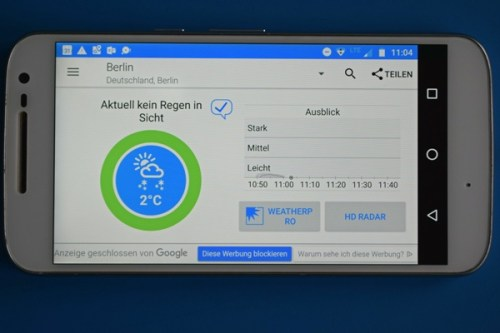 Ansicht der Smartphone-App RainToday zur Regenwarnung als Beispiel für mehr Apps für Motorradtouren