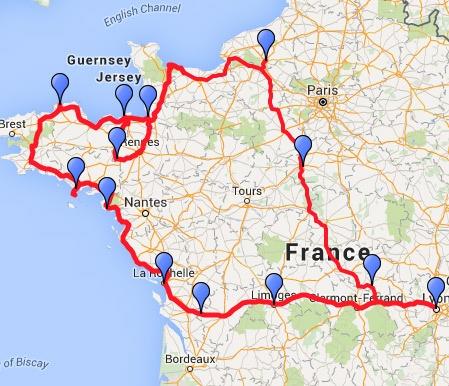 Streckenplan einer Motorradtour durch Frankreich an den Atlantik