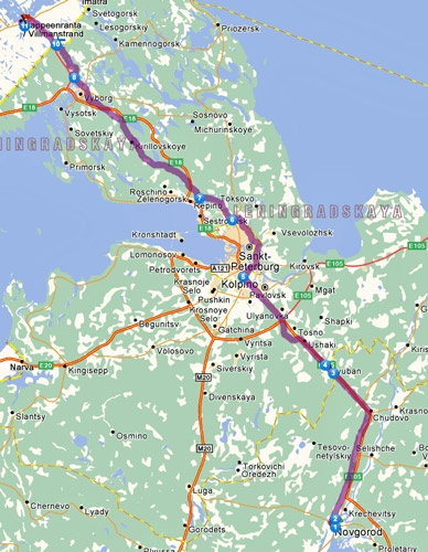 2. Etappe Nowgorog-Lappeenranta einer Motorradtour von Moskau nach Lyon