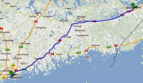 3. Etappe Lappeenranta-Helsinki einer Motorradtour von Moskau nach Lyon