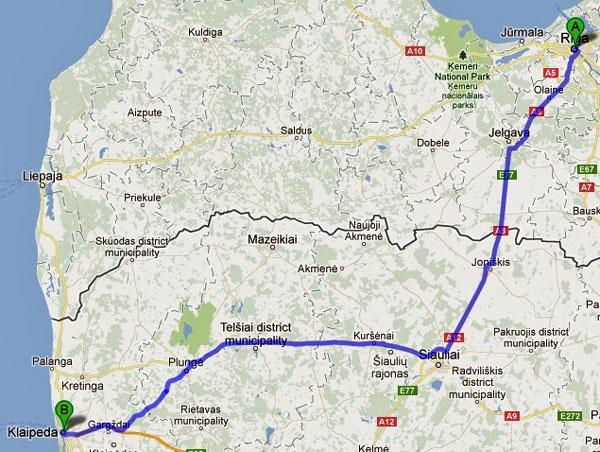 8. Etappe Riga-Klaipeda einer Motorradtour von Moskau nach Lyon