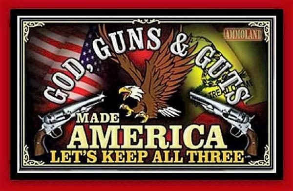 Bumper sticker God, Guns and Guts
