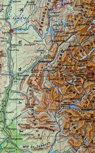 Physische Karte der Westalpen mit Zentrum Grenoble, Frankreich