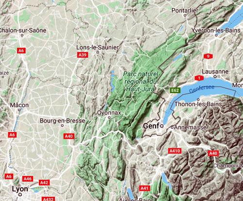 Physische Karte Franzoesischer Jura