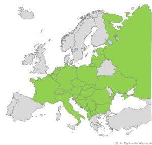 Besuchte Länder bei Motorräder und Touren