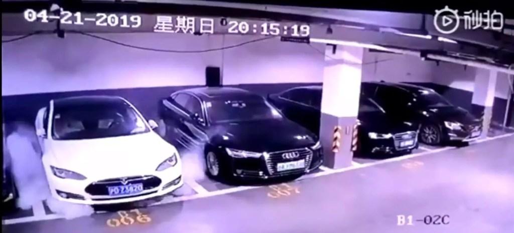 Tesla Fire Video Screenshot